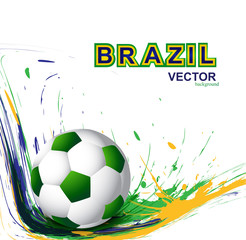 Soccer background with Brazil colors grunge splash vector