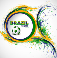 Beautiful Soccer background with Brazil colors grunge stylish wa
