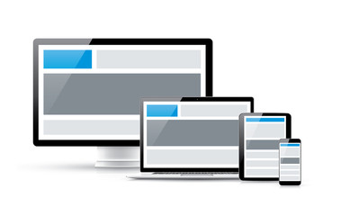 Create responsive web design in four electronic vector devices