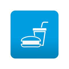Etiqueta tipo app azul simbolo fast food
