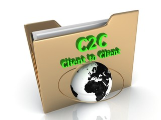 C2C Client to Client bright green letters on a golden folder