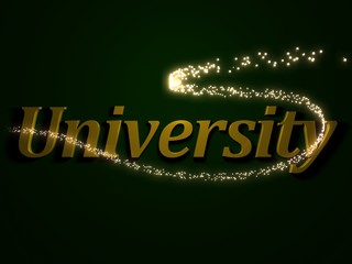University - 3d inscription with luminous line with spark