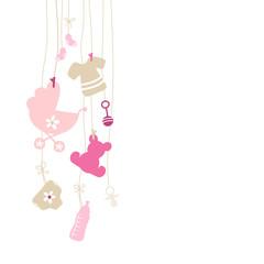 Baby Card Hanging Symbols Girl Beige