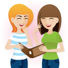 cartoon teenage girls laughing with magazine
