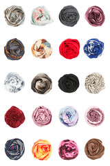 The set of silk scarves folded rosettes