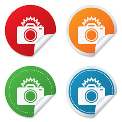 Photo camera sign icon. Photo flash symbol.