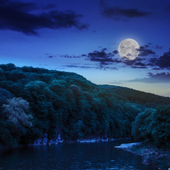 calm mountain river on a dark summer night