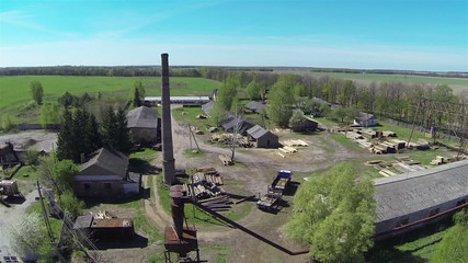 Panorama of old sawmill. Aerial