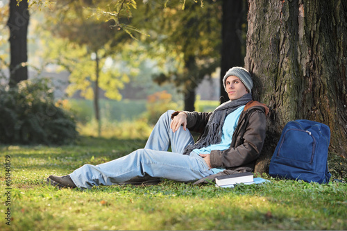 Male student sitting by a tree in park on a sunny day