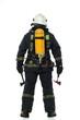 Leinwanddruck Bild - Firefighter with axe and oxygen balloon isolated on white