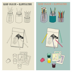 Vector Hand drawn Art supplies Illustration