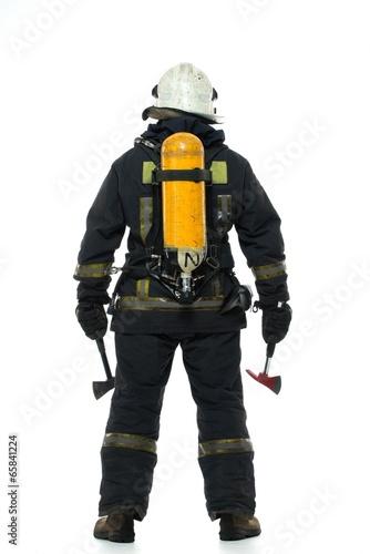 Leinwanddruck Bild Firefighter with axe and oxygen balloon isolated on white