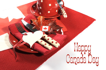 Happy Canada Day dinner party table setting with sample text