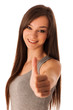 Hapy hispanic woman showing ok gesture with thumb up