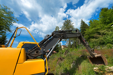 Yellow and Black Excavator Machine