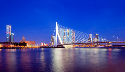 Rotterdam Skyline at Twilight, The Netherlands