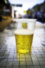 Glass of cold beer color image