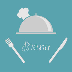 Silver platter cloche fork  knife. Menu cover flat design