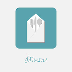 Silver fork knife spoon and napkin icon. Menu cover  flat design