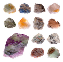 Mineral collection isolated on a white background