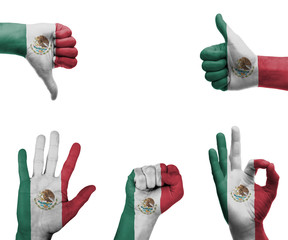 Hand set with the flag of Mexico