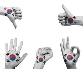 Hand set with the flag of South Korea