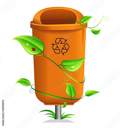 Orange litterbin rounded by many leaves.