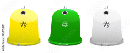 Yellow, white and green recycle bins on white background.