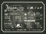 Restaurant Food Menu Design with Chalkboard Background poster