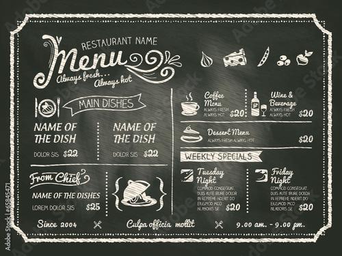 Projekt menu jedzenie restauracja z tablica tło