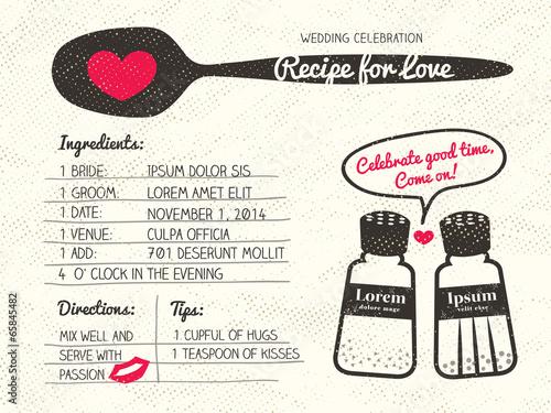 Recipe for Love creative Wedding Invitation - 65845482
