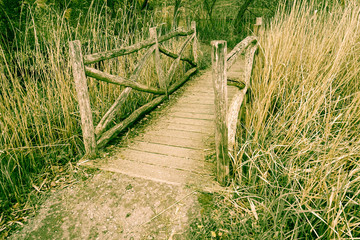 Nostalgische, alte Holzbrücke, retro-look