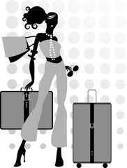 Young woman and suitcase