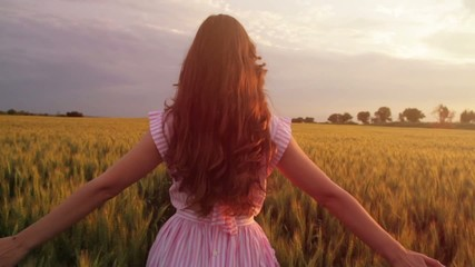 Elegant Beauty Woman Vintage Walking Wheat Filed Slow Motion