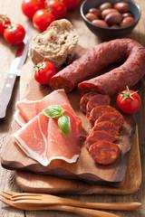 mediterranean snack chorizo parma olives tomatoes
