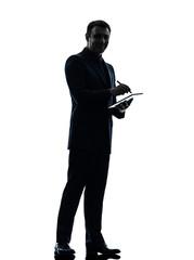 business man  digital pen stylus tablet  silhouette