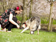 Beautiful girl petting her dog during a walk in the spring