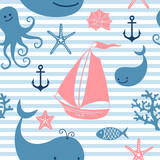 Fototapety Seamless pattern with cute whales, sailing.