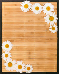 camomile on bamboo background