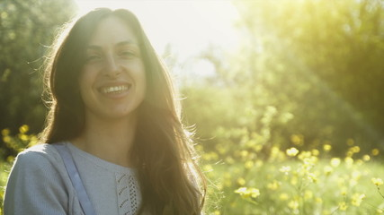 Pretty Woman Smiling Sun Shine Flare Bubbles Grass Meadow HD