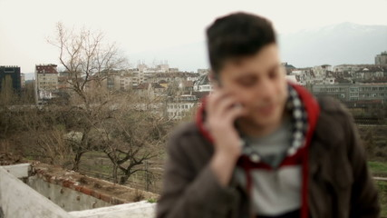 Handsome Young Man Talking on Phone Roof Urban Culture HD