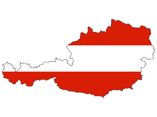 Vector map with the flag inside - Austria.