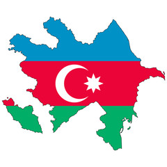 Vector map with the flag inside - Azerbaijan.