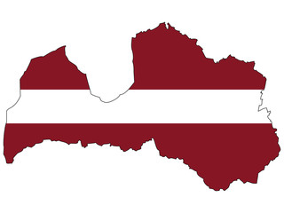 Vector map with the flag inside - Latvia.