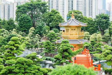 The Golden pavilion in Nan Lian Garden, Hong Kong