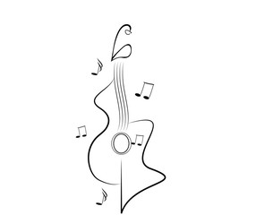 Chitarra bianco e nero