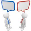 zwei Männchen diskutieren