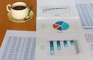 forcast ,analysis incomes charts, graphs report with coffee cup