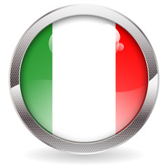 Gloss Button with Italy Flag