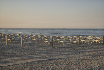 Deckchairs and umbrellas on the adriatic coast